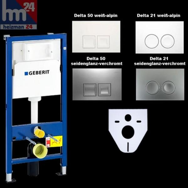 Geberit Duofix Basic WC-Vorwandelement UP100 mit Schallschutz und Betätigungsplatte Delta 21 o. 50