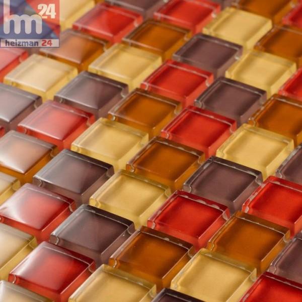 Glasmosaik Barcelona Mosaikfliese Taupe rot braun gelb für Küche Bad Fliesenspiegel Dusche Pool