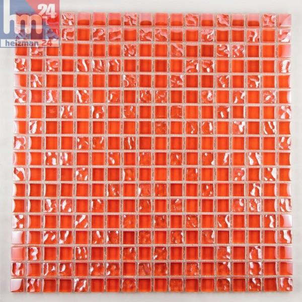 Glasmosaik Tanrasi Mosaikfliesen orange rot für Pool, Dusche, Bad, Küche, Fliesenspiegel