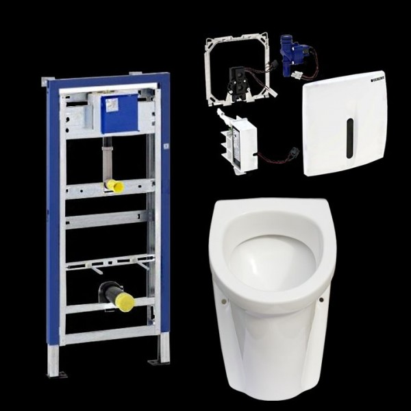 Komplettset Gustavsberg Saval 2.0 Urinal inkl. Geberit HyBasic berührungslos u. Duofix Basic
