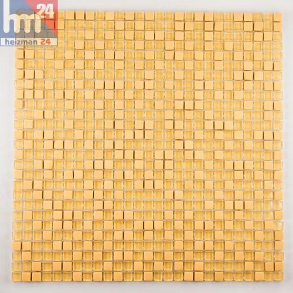Glasmosaik Jaciara Naturstein Mosaikfliesen gelb-orange Pool, Dusche, Bad, Küche, Fliesenspiegel