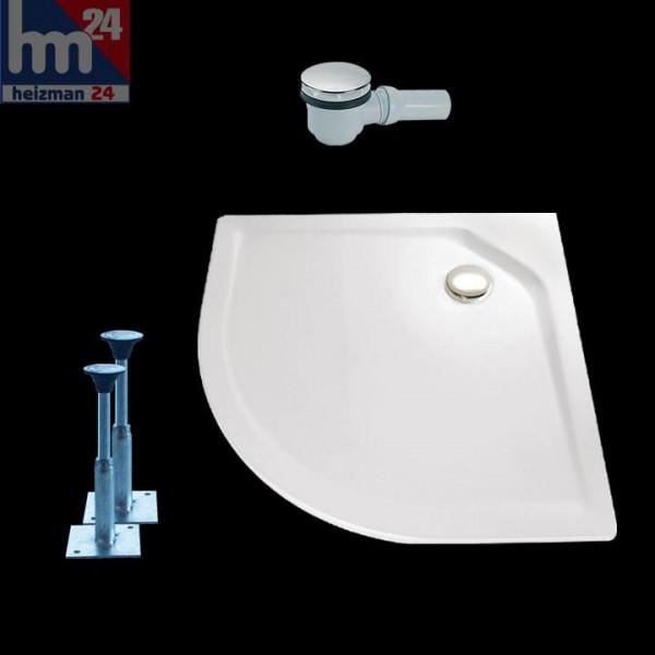 HSK Marmor-Polymer-Duschwanne Viertelkreis super-flach weiß ohne Schürze
