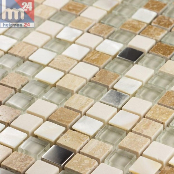 Glasmosaik Mendoza Naturstein Metall Elemente Silber Weiß Transparent Beige  Braun Bad Küche Dusche