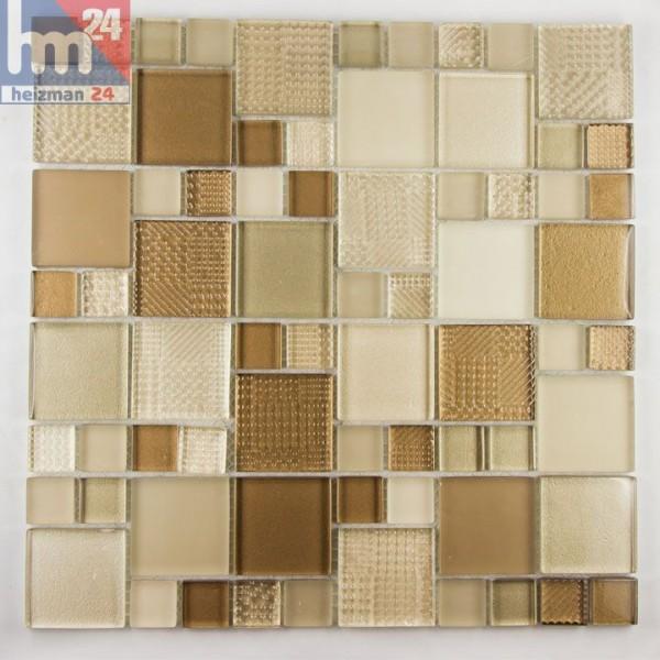 Glasmosaik Bojano Mosaikfliesen hellbraun braun beige f. Pool Küche Dusche Bad Fliesenspiegel