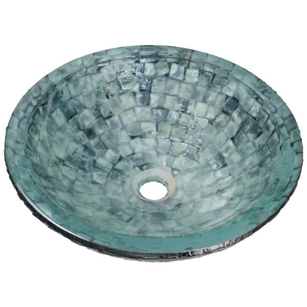 Ice Sea Aufsatzwaschbecken Glas Waschschüssel FG283 rund Ø 42 cm Handmade