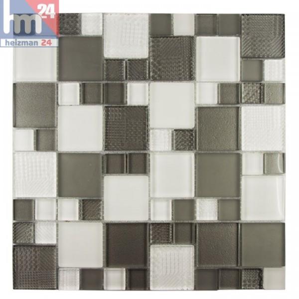 Glasmosaik Benevento Mosaikfliese grau weiß für Bad Pool Küche Dusche Fliesenspiegel