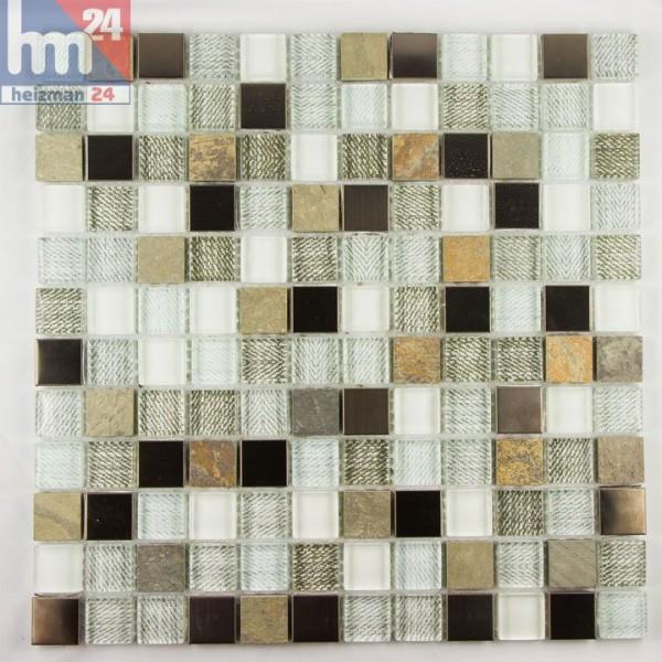 Glasmosik San Magno Naturstein Metall Mosaikfliesen Braun Grau Kupfer Weiß  Bronze F. Bad Pool Küche