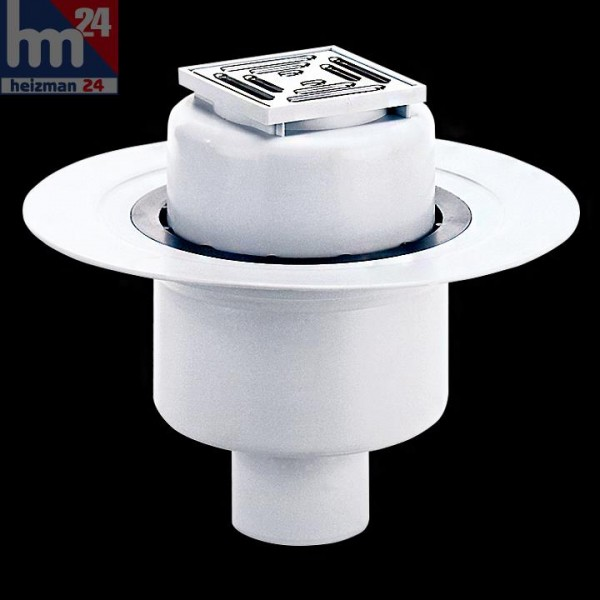 Dallmer Bodenablauf 61 HT/E 100 x 100 mm DN 50 / DN 70 mit Ablaufstutzen 611154