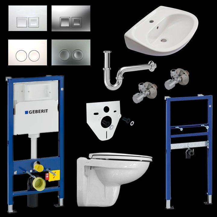 komplettset vitra wc mit wc sitz und waschtisch inkl geberit vorwandelemente wc. Black Bedroom Furniture Sets. Home Design Ideas