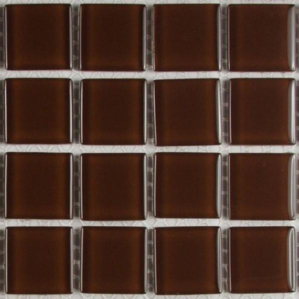 Musterstück Crystal Brown Mosaik Glas Fliese ca. 10,5 x 10,5 x 0,4 cm