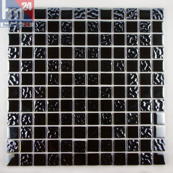 Glasmosaik Black Composition Mosaikfliese metall chrom Optik für Bad Küche Pool Fliesenspiegel