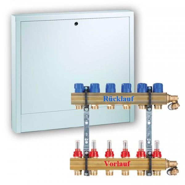 Komplettset Empur Messing-Heizkreisverteiler HKV-D 2 -12 inkl. Verteilerschrank Aufputz