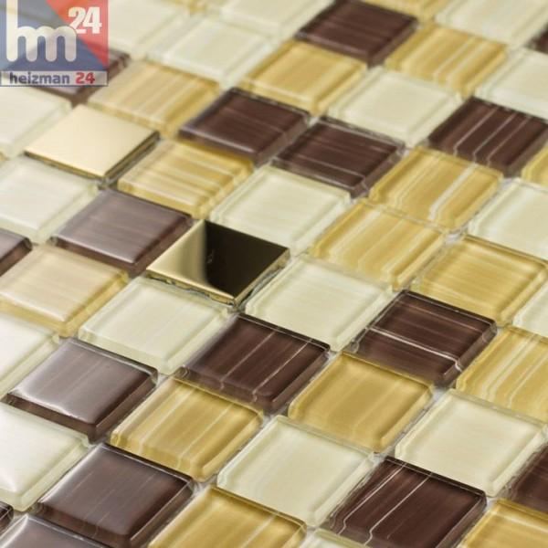 Glasmosaik Monaco Metall Elemente Mosaikfliese Gold Braun Gelb Weiß - Mosaik fliesen braun gold