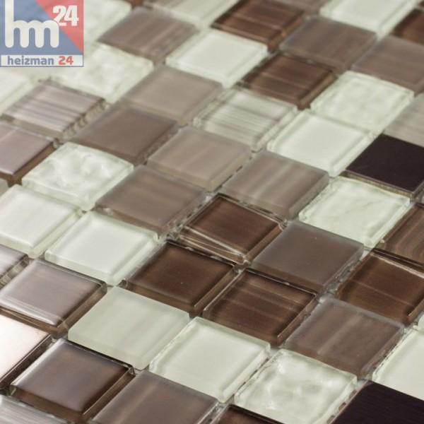 Glasmosaik Tolima Mosaikfliese braun hellbraun weiß für Bad Pool Fliesenspiegel Küche