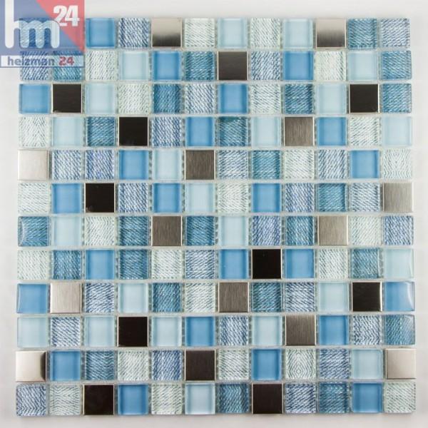 Glasmosaik Citulo Mosaikfliese Jeans Optik, silber, blau, weiß, hellblau für Bad, Küche, Pool