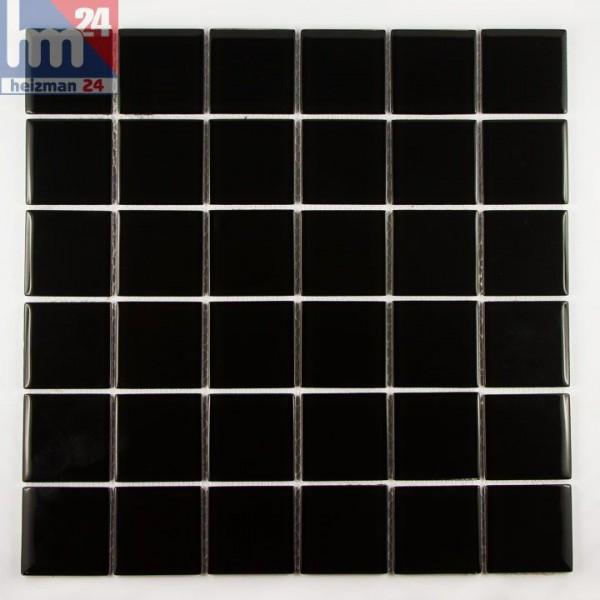 Glasmosaik Black Plate Mosaikfliese schwarz f. Fliesenspiegel Bad Küche Pool 29,5 x 29,5 x 0,4 cm