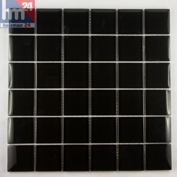 Glasmosaik Black Dice Mosaikfliese schwarz für Fliesenspiegel, Bad, Küche, Pool 29,5 x 29,5 x 0,8 cm